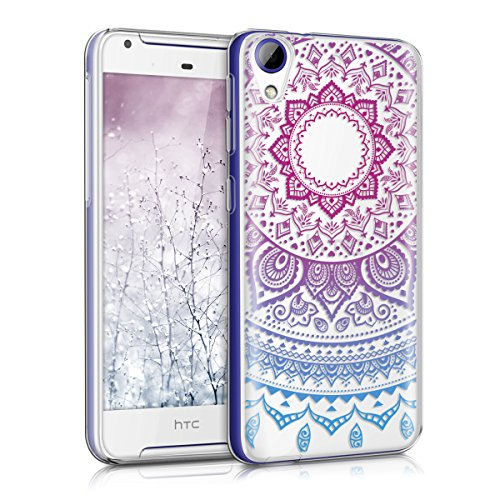 kwmobile Hülle kompatibel mit HTC Desire 628 dual SIM - Hülle Silikon transparent Indische Sonne Blau Pink Transparent