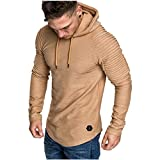 Mens Fashion Athletic Hoodies Casual Sport Sweatshirt Workout Lightweight Fleece Pullover Solid Color D304 Kahki-L