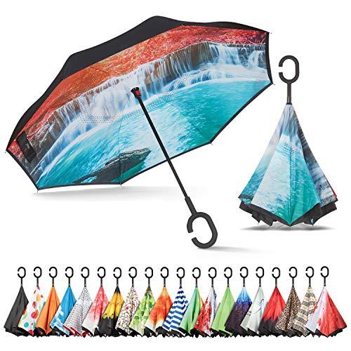 Sharpty Inverted Umbrella, Umbrella Windproof, Reverse Umbrella, Umbrellas for Women, Upside Down Umbrella with C-Shaped Handle (Waterfall)