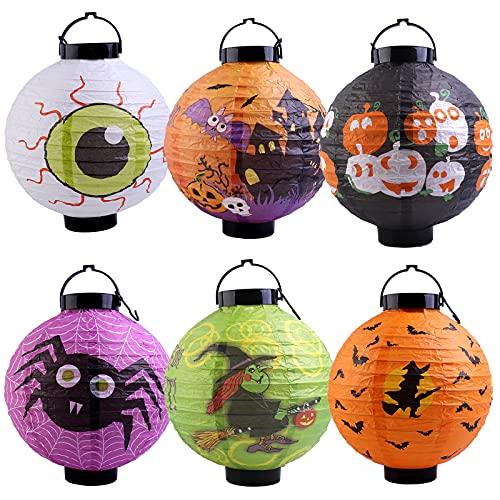 Epoda Halloween Laterne, LED Papierlaterne, Rund Ballform Halloween Laterne Papier KüRbis Schläger Geist Papierlaterne HäNgedeko Halloween Party Dekorationen