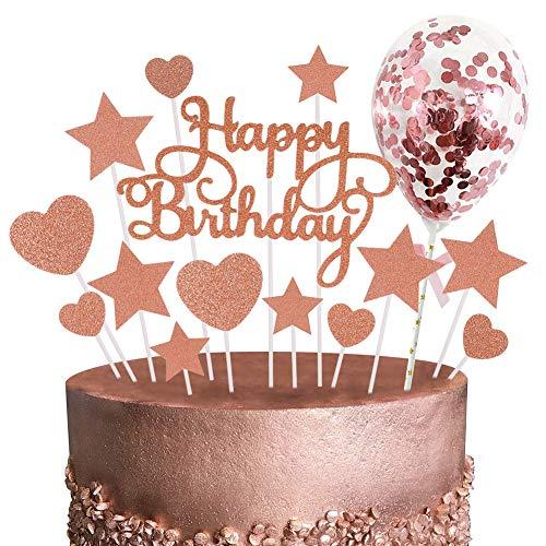 Phoetya 15er Pack Roségold Cake Topper Set, Alles Gute zum Geburtstag Cupcake Topper Glitter Hearts Sterne Cake Topper Mini Konfetti Ballon Hochzeitstorte Topper für Rose Gold Theme Party Dekor