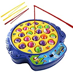 Catch the most fish with fishing rods from rotating fishpond! The fish open and close their mouth while the fishing board spins. Practice fishing skills with this classic fishing game! Multiplayer fast-action fishing game for 1-4 players. Includes mo...