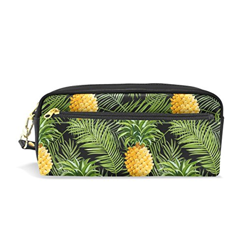 bennigiry Tropical piña y Plam hojas estuche portátil plum