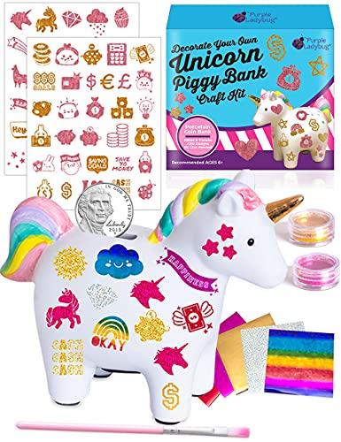 Purple Ladybug Unicorn Piggy Bank Craft Kit for Girls - Decorate Your Own Coin Bank for Kids with...