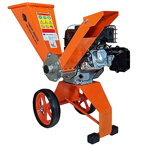 Forest Master Arranque eléctrico de 6 HP para jardín de gasolina compacta, trituradora de astillador, ligera y equilibrada, fácil de transportar y potente máquina, corta hasta 50 mm de diámetro.