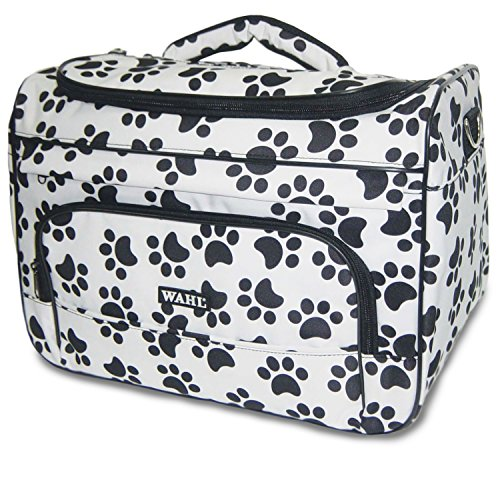 Wahl Professional Animal Travel Tote Bag with Zipper, Black and White Paw Print Design (#97764-001), 28.8 Inches