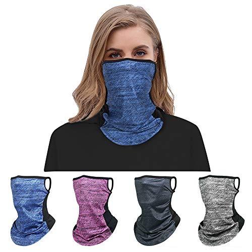 VDSOW sciarpa multipack con copri-viso in seta da 4 pezzi con passamontagna per uomo e donna, viso lavabile, berretto da collo, fascia per ciclismo, moto, passamontagna multifunzionale