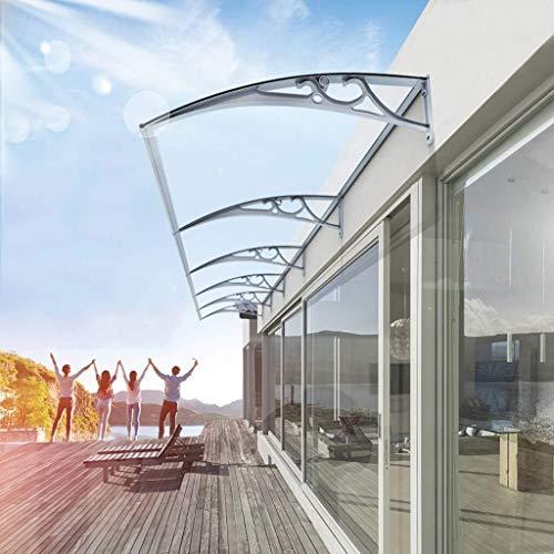 Regendicht deurmarkies Deurmarkies Shelter Luifel Balkon Zonnescherm, Roof Front Porch Cover, Transparant PC Transparant Endurance Board, 60cm Aluminium beugel zonnescherm
