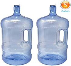 LavoHome 2-Pc Plastic Water Bottle with Screw Caps 5 Gallons Jug Container with Cap, Easy Grip Carry Handle | for Sports Camping Residential Commercial Use | BPA Free Food Grade