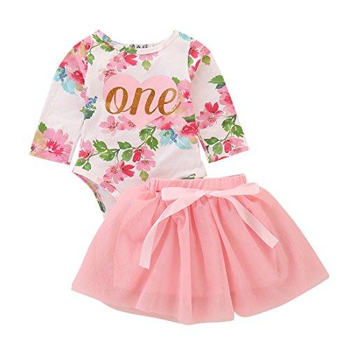 T TALENTBABY - Conjunto de 2 piezas para recién nacido para niña, primer cumpleaños, diseño de letra una, estampado floral, con lazo, tutú, vestido de princesa, vestido de princesa Rosa (manga larga).