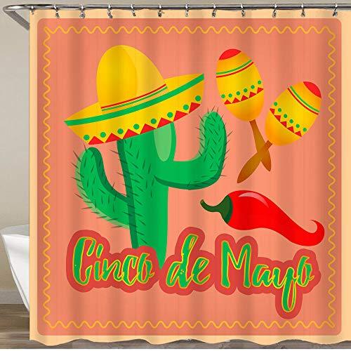 KGSPK Cortinas de Ducha,Cactus En Sombrero Sombrero Maracas Mexicanas Y Chiles,Impermeable Cortinas Baño y Lavables Cortinas Bañera 180x180CM