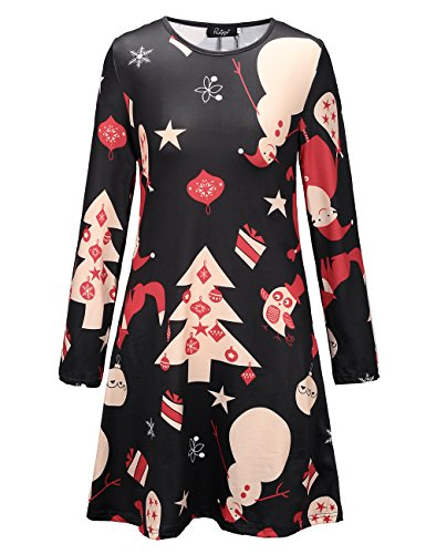 Ladies Long Sleeve Winter Christmas Novelty Printed Party Swing Dress Black S