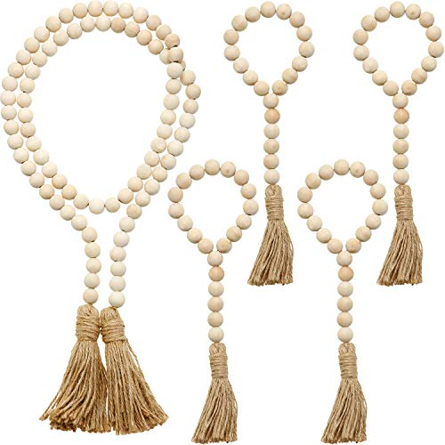 5 Sets Wood Bead Garland Set Tassels Farmhouse Beads Prayer Beads Farmhouse Rustic Country Beads with Tassels Wall Hanging Decor Home Decor Beads (Wooden Color, 33 cm/ 13 Inches)