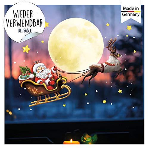 Wandtattoo Loft Fensterbild Weihnachten Weihnachtsmann Rentier Schlitten Wiederverwendbare Fensteraufkleber Fensterdeko Kinder