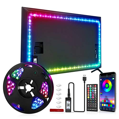 Led Lights Backlight for 24 Inch to 70 Inch Tv RGB Color Changing Sync with Music,16 Million Colors Bias Mood Lamp with Controller and App Control with Remote, DIY Colors Tv Led for Gaming Lights