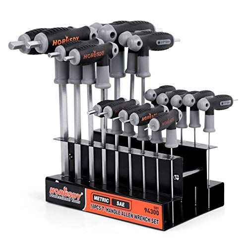 HORUSDY 18-Piece T-Handle allen wrench set, Inch/Metric Long Arm Ball End Hex Key Wrench Set, MM(1.5mm-10mm) SAE(1/16
