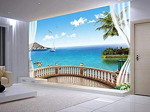 Carta da parati 3D Murales Balcone Vista sul mare Blu Coco Island Soggiorno Camera da letto Tv Sfondo Decorazione murale Art foto immagine poster -350×256cm(LxA)