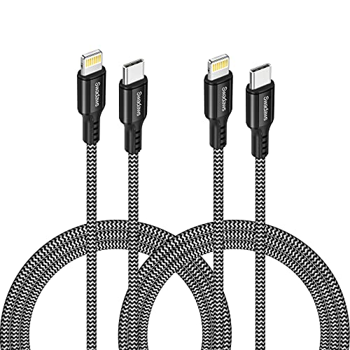 USB C to Lightning Cable MFi Certified, Swadaws 2-Pack 6.6FT Nylon Braided Fast Charging Syncing Cord Compatible with iPhone 12/12 Mini/12 Pro/11 Pro Max/X/XS/XR/8 Plus/iPad/AirPods Pro, Black Gray
