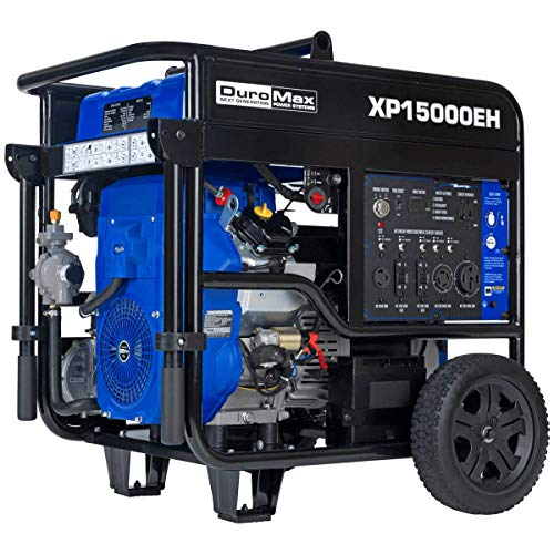 DuroMax XP15000EH Dual Fuel Portable Generator-15000 Watt Gas or Propane Powered Electric Start-Home Back Up & RV Ready, 50 State Approved, Blue and Black