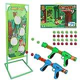DeeXop Schießspiel für Nerf Kinder Spielzeug Jungen 5 6 7 8 9 10+ Jahre alt, 2PK Foam Ball Popper Air Toy Guns, 24 Foam Balls, Indoor-Outdoor-Ziel Spielzeug Geburtstag Geschenke für Kinder