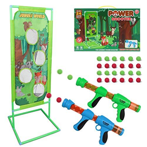 DeeXop Juguete de tiro para niños y jóvenes, recargable, con 2 pistones de aire de juguete, regalo de cumpleaños para niños de 5, 6, 7, 8, 10, 13 años de edad