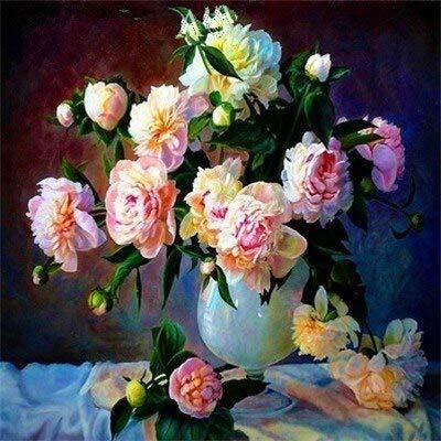 Cuadro de diamantes de flores flor de piedra redonda completa bordado de diamantes cuadro de diamantes de imitación de rosas pintura de mosaico A22 40x40cm
