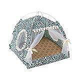 Tienda de campaña portátil para perros, cama para gatos o gatos, refugio para animales al aire libre, refugio para mascotas de verano, playa de verano, camping para mascotas (XL, leopardo verde)