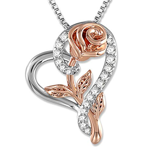 SNZM Love Heart Pendant Necklace Cubic Zirconia Rose Flower Jewelry Gift for Women Girls