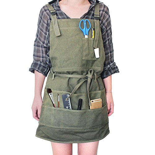 Artist Canvas Apron with Pockets Painting Apron  Adjustable Neck Strap/Waist Ties Painter Aprons for...