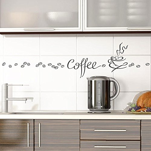 Grandora Wandtattoo Coffee Kaffee Tasse Kaffeebohnen I dunkelgrau Kreativset I Esszimmer Kaffeeecke Küche Aufkleber Wandaufkleber Wandsticker Sticker 1045W