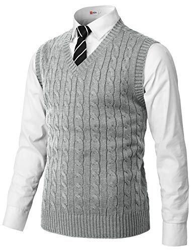 H2H Mens Casual Slim Fit Pullover Sweaters Knitted Vest Gray US M/Asia L (CMOV052)