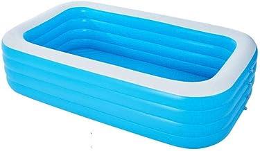 Hinchable Piscina, Engrosado Lounge Pool con Inflador Rectangular Grande Piscina para Adultos Infantil Niños Pequeños Jardín Exterior-305×183×78CM-SiHLanBai
