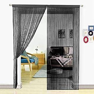 Pantalla de cortinas de cuerdas HSYLYM con cuentas,para decoración del hogar,poliéster,negro,90x245cm