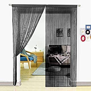 HSYLYM String Curtain with Pearl Beads Dense Fringe Beaded Door Tassel Curtains (39x79, Black)