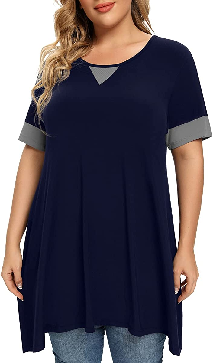 OVERWORETY Women's Plus Size Short Sleeve Tunic Tops Casual Loose Swing Flowy T-Shirts with Leggings