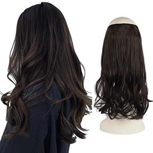 FESHFEN Extensiones de Hilo Invisible sin Clip de una pieza Halo extensiones de cabello secreto línea de pescado extensiones de pelo ondulado sintético 46cm 130g