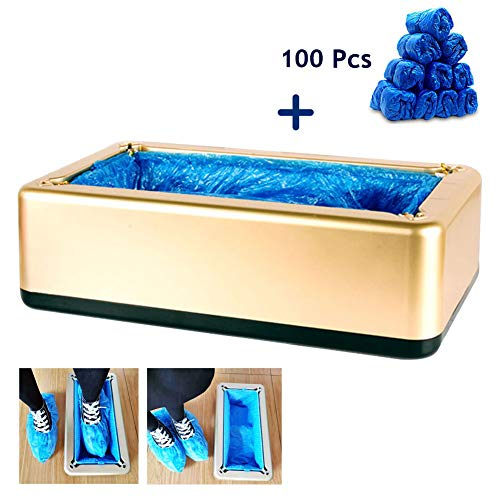 Automatische Shoe Cover Dispenser Machine met 100st Disposable Plastic Boot & Shoe Cover for Medical, huis, winkel en Office,Gold