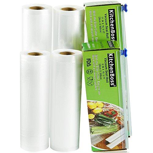 KitchenBoss Vakuumrollen 4 Rollen 20x500cm und 28x500cm Mit 2 kasten cutter Profi-Folienrollen, Kommerzielle Geprägte Taschen für Nahrungsmittelretter und Sous Vide Kochen, BPA frei