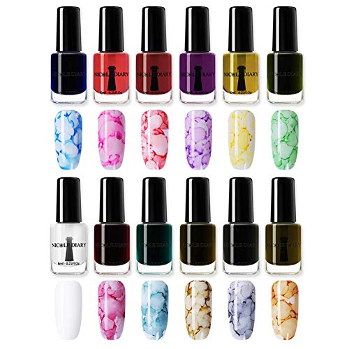 NICOLE DIARY Blossom Nail Polish Blossom Nail Varnish Watercolor Marble Nail Ink Gel Flower Nail Art Varnish DIY Design(6ml, 12 colors)