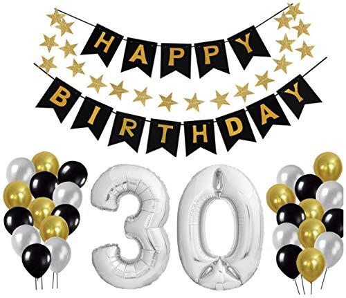 Freitag Abend Set de decoración de cumpleaños, decoración de cumpleaños, decoración de cumpleaños. Globos con Forma de números, tamaño XXL, 24 Globos Grandes y 1 Pancarta con Texto Happy Birthday