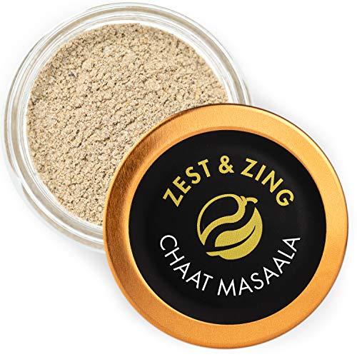 Zest & Zing Chaat Masala (Macinato), Barattolo di Spezie da 30 G - Miscele di Spezie al Curry Premium di Zest & Zing. Vasetti di Spezie Più Freschi, Convenienti e Impilabili.