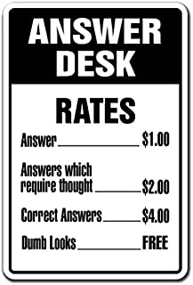 Answer Desk Novelty Sign | Indoor/Outdoor | Funny Home Décor for Garages, Living Rooms, Bedroom, Offices | Signmission Questions Directions Gift Answerman What Answering Sign Wall Plaque Decoration