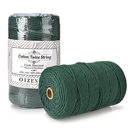 OIZEN Makramee Garn 3mm x 200m Baumwollgarn Baumwollkordel für DIY Projekte geeignet - Natürliches Garn für Makramee Macrame Garn Baumwollseil