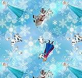 Jersey-Stoff, 0,5 m, 50 cm x 150 cm, 95 % Baumwolle, 5 % Elasthan, Stretch-Jersey-Stoff HEM86 Frozen Schneeflocken Blau