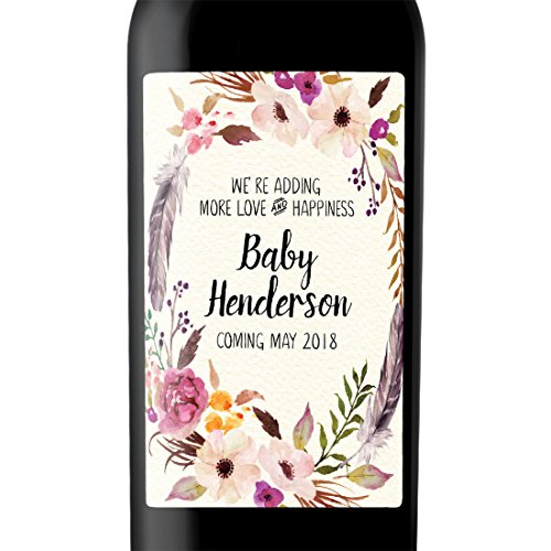 """More Love and Happiness"" Custom Wine Label Bottle Stickers for Pregnancy Announcement and Baby Shower Party - Gifts for Guests, Event Invitation - Unique Specialized Personalized Bespoke Set of 4"