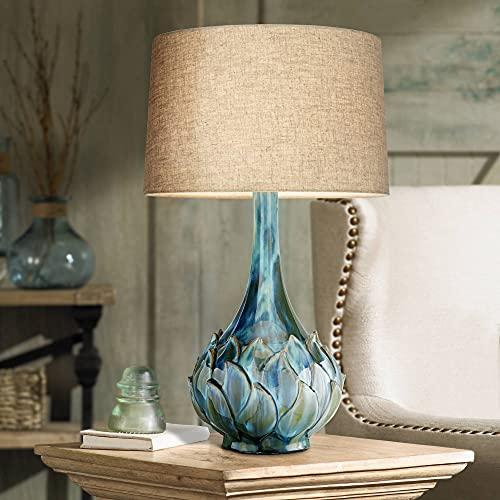 Kenya Modern Contemporary Style Table Lamp Ceramic Blue Green Vase Handmade Beige Linen Drum Shade Decor for Living Room Bedroom House Bedside Nightstand Home Office Family - Possini Euro Design