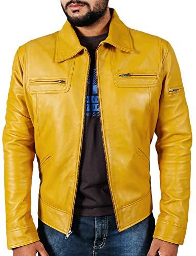 Laverapelle Men's Genuine Lambskin Leather Jacket (Yellow, Medium, Polyester Lining) - 1501200