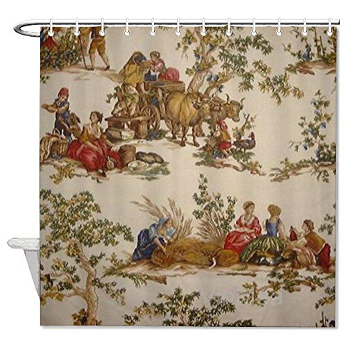 VinMea Shower Curtain,French Country Toile Print Mojo,Home Bathtub Polyester Fabric Shower Curtain for Bathroom Decor,Waterproof Washable,72x72''