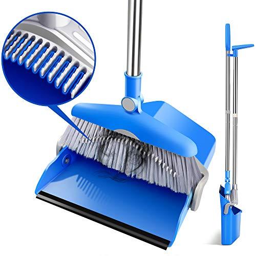 ほうきちりとりセット 掃除セット 180回転でき 立つほうき 防風式 ちりとりセット130cm 延長可能 箒 ホコリ 髪の毛 掃除簡単 収納便利 掃除道具 玄関 部屋 美容室 ショップ適用