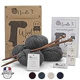 Needle It – Kit Completo per Principianti con Ferri da Maglia – Sciarpa in Lana per Maglieria - Idea Regalo (Grigio)